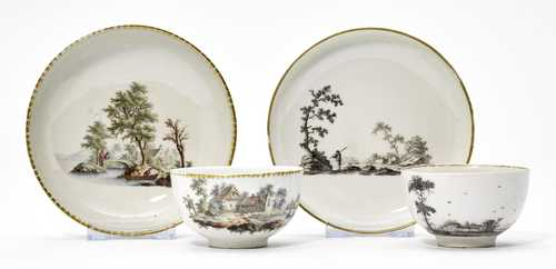 LOT COMPRISING TWO DISHES AND SAUCERS