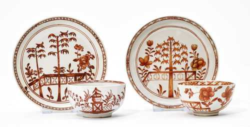 TWO DISHES AND SAUCER WITH IRON RED CHINOISERIE DECORATION.