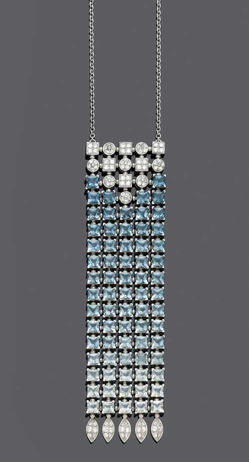 TOPAZ, DIAMOND AND GOLD NECKLACE, BY BULGARI.