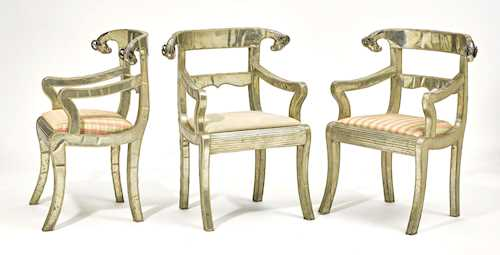 SET OF 3 CHAIRS WITH METAL FITTINGS,