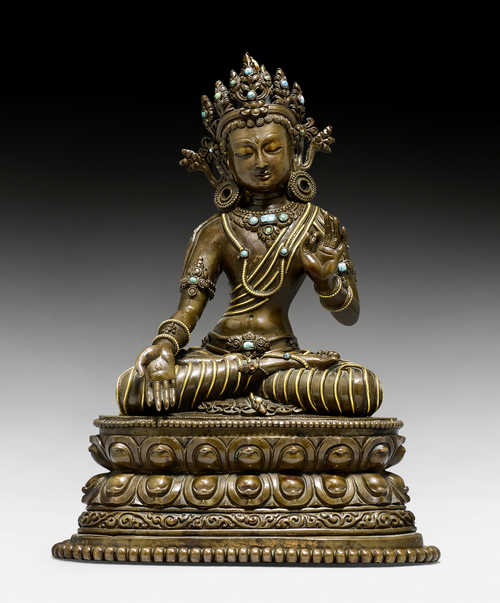 A RARE COPPER ALLOY FIGURE OF MANJUSHRI IN HIS HERO ASPECT.