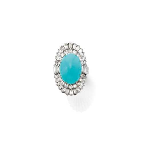 TURQUOISE AND DIAMOND RING, ca. 1970.