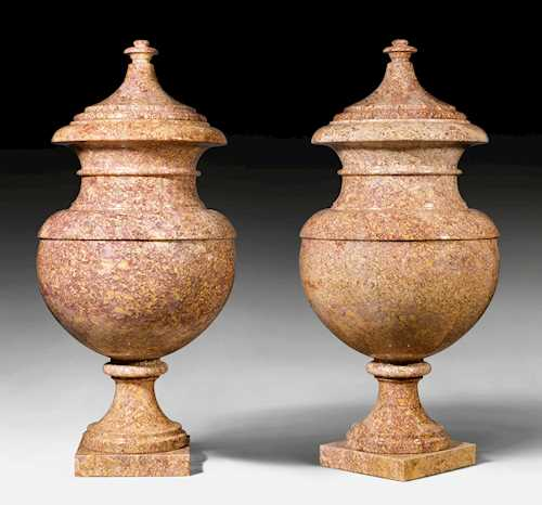 A PAIR OF LARGE ORNAMENTAL VASES,