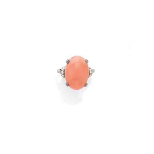 CORAL AND DIAMOND RING.