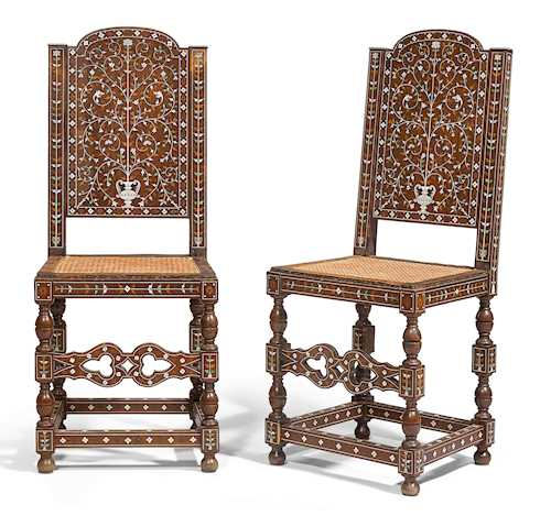 PAIR OF INLAID CHAIRS,