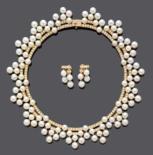PEARL AND DIAMOND NECKLACE WITH EARCLIPS, BY BULGARI.