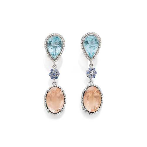 MORGANITE, AQUAMARINE, SAPPHIRE AND DIAMOND EAR PENDANTS.