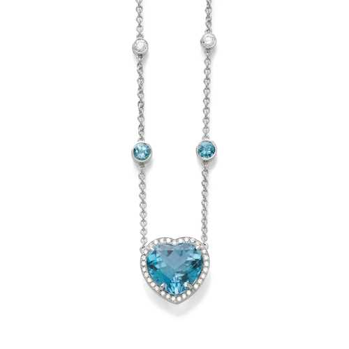 TOPAZ AND DIAMOND NECKLACE.