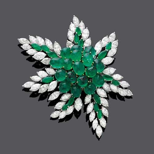 EMERALD AND DIAMOND BROOCH, BY A. RAVE.