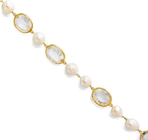 PEARL AND GEMSTONE NECKLACE.