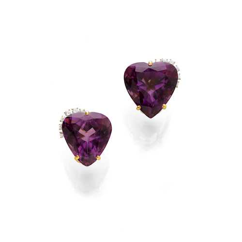 AMETHYST AND DIAMOND EARCLIPS.
