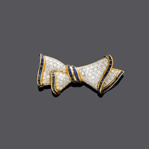 SAPPHIRE AND DIAMOND BROOCH.