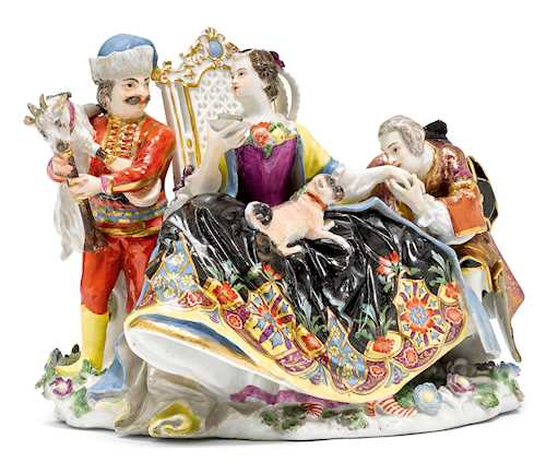 "AN IMPORTANT AND RARE MEISSEN ""CRINOLINE"" GROUP"