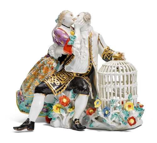AN IMPORTANT MEISSEN GROUP OF LOVERS WITH A BIRD CAGE
