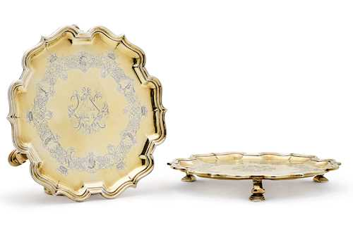 PAIR OF SILVER-GILT FOOTED PLATTERS