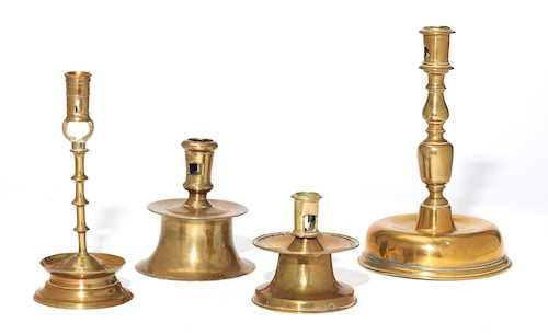 A LOT OF FOUR CANDLESTICKS