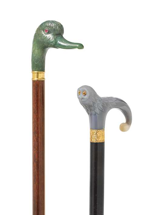 TWO EUROPEAN HARDSTONE CANES