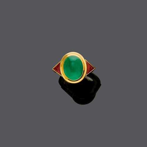 EMERALD AND RUBY RING.
