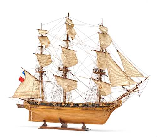 MODEL OF A FRENCH FULL-RIGGED SHIP,