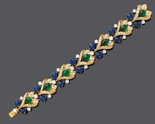 EMERALD, SAPPHIRE AND DIAMOND BRACELET, BY VAN CLEEF & ARPELS, NY ca. 1960.