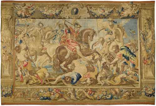 LARGE TAPESTRY FROM AN EIGHT-PIECE SERIES ABOUT THE LIFE OF MARCUS AURELIUS,