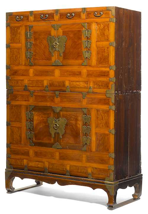 A BRASS MOUNTED SOFT AND BURL WOOD CABINET (SAMCH'UNG JANG).