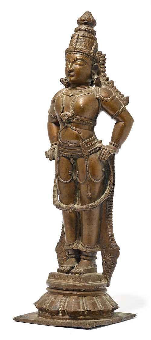 A BRONZE FIGURE OF A VISHNAVITE DEITY.