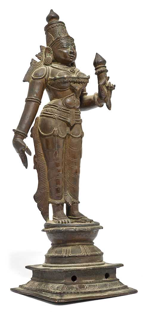 A BRONZE FIGURE OF THE STANDING BHU-DEVI.
