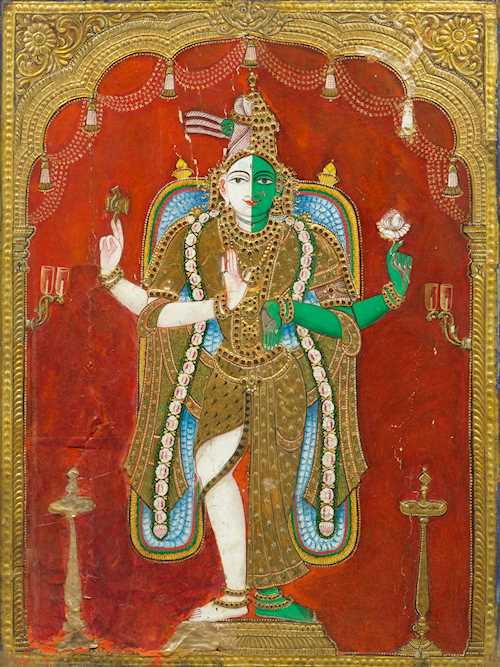 A LARGE TANJORE PAINTING OF HARI-HARA.