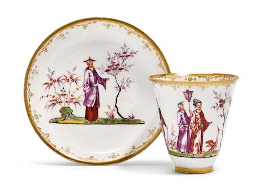 "CUP AND SAUCER WITH ""HAUSMALER"" CHINOISERIE DECORATION"
