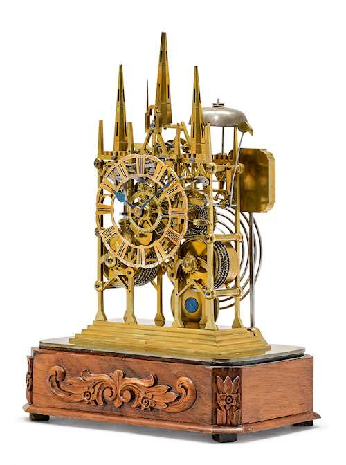 SKELETONIZED PENDULUM CLOCK, DESIGNED AS A CATHEDRAL