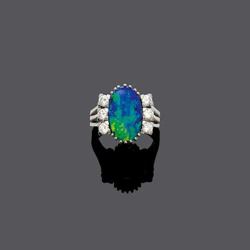 OPAL DOUBLET AND DIAMOND RING, ca. 1970.