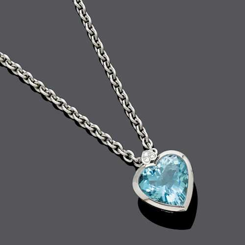 AQUAMARINE AND DIAMOND PENDANT WITH CHAIN, BY CHRISTINE NAGEL.