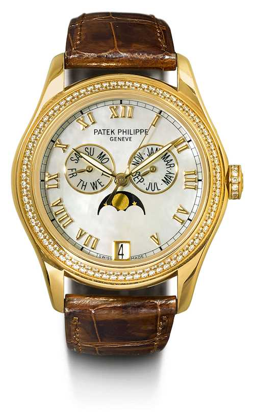 "Patek Philippe, very rare and attractive ""Annual Calendar"" with diamonds, 2014."