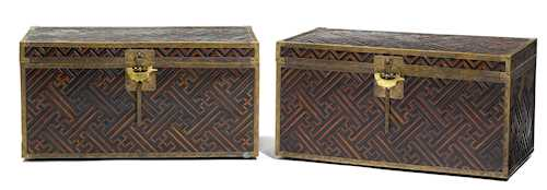 A PAIR OF LACQUERED WOOD AND BAMBOO CHESTS.