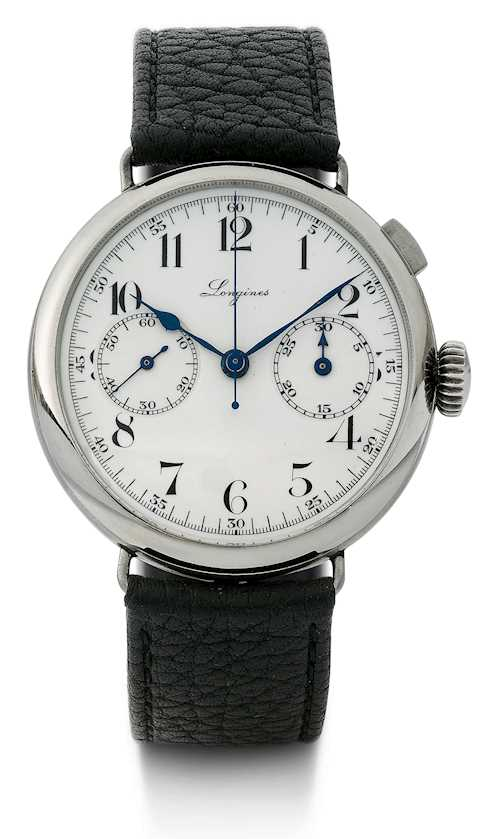 "Longines, very rare, large ""mono-pusher"" Chronograph, 1935."