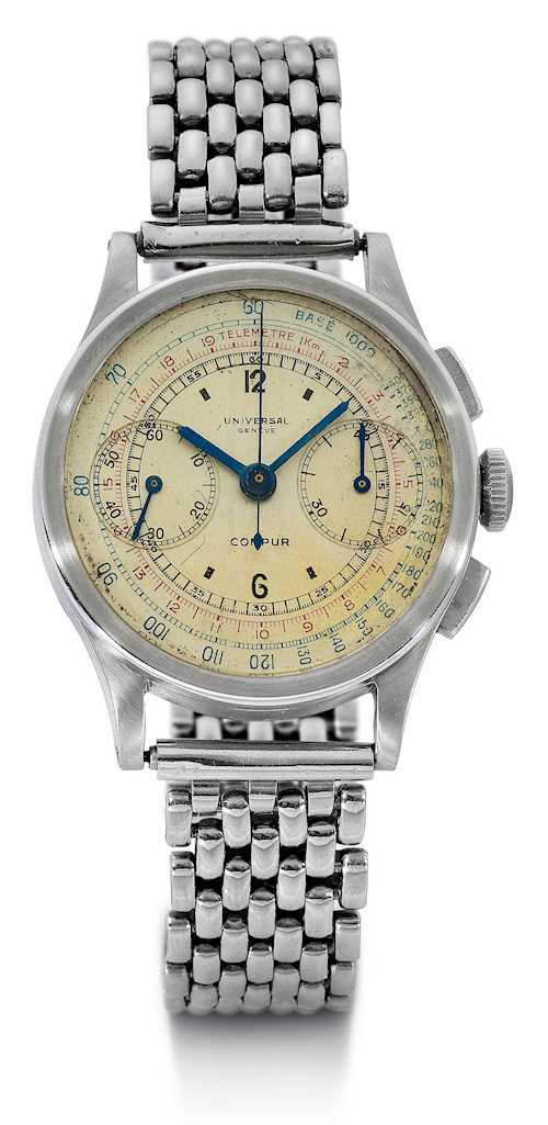Universal, very rare and attractive, Compur Chronograph, ca. 1937.