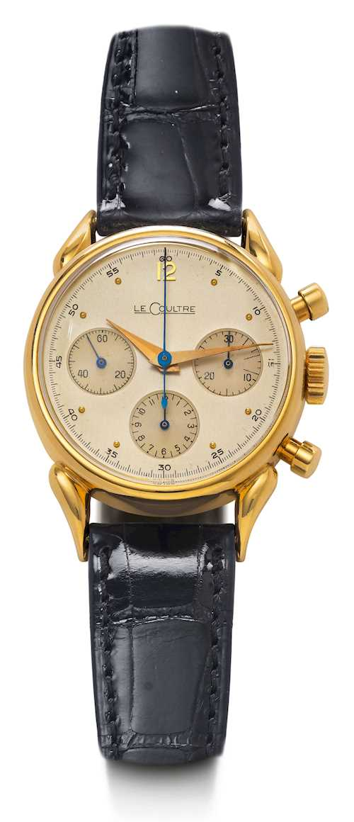 Le Coultre, large, very rare Chronograph, ca. 1950.