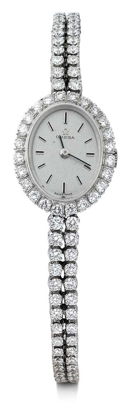 Omega, very rare and elegant diamond Lady's wristwatch.