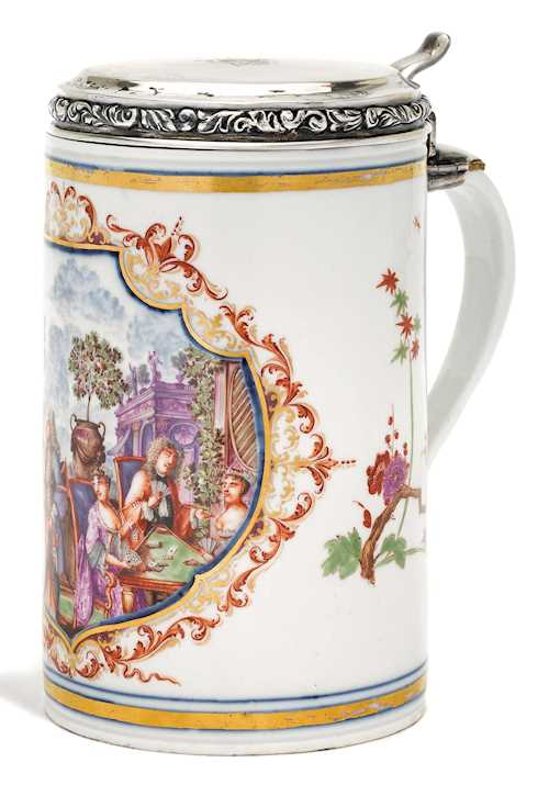 IMPORTANT CYLINDRICAL JUG, WITH A COURTLY SCENE