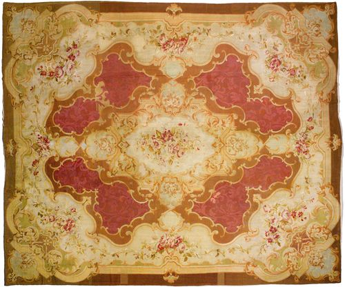 AUBUSSON antique.Brown central field with a beige central medallion, patterned with trailing flowers in delicate pastel colours, beige edging, 450x500 cm.