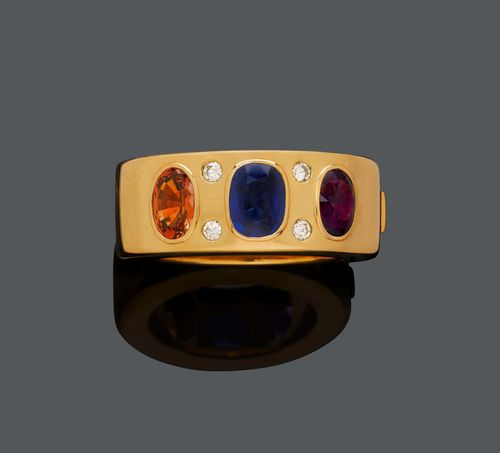 CEYLON-SAPPHIRE, AMETHYST, CITRINE AND DIAMOND BANGLE, ca. 1980.