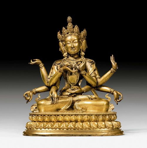 A HEAVY GILT BRONZE FIGURE OF USHNISHAVIJAYA. Tibeto-chinese, 18th c. Height 33 cm. Unsealed. *****This item is subject to special bidding conditions, please let us know if you wish to bid on it*****