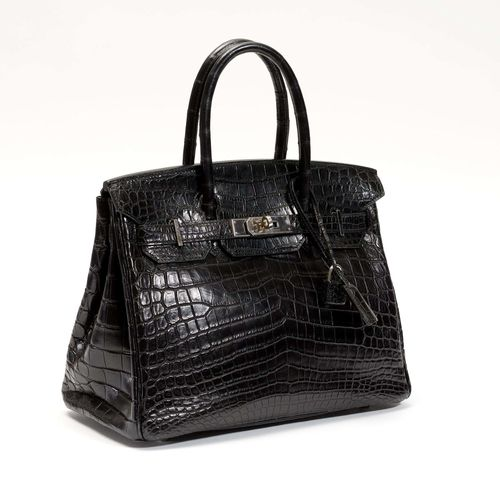 HERMES Paris Made In France (2007). SAC Birkin 30 en crocodile niloticus mat noir, garniture en métal argenté palladié, double anse, ca