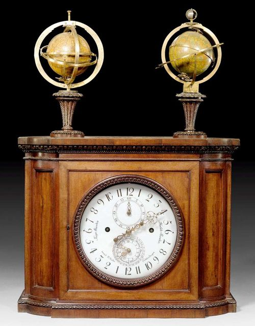 DOUBLE GLOBE CLOCK,Louis XVI, the dial inscribed and stamped INVENIT P. HAHN ECHTERDINGEN (Philipp Matthäus Hahn, Esslingen 1739-1790 Echterdingen), the globes stamped JOH.GAB. DOPPELMAIERI M.P.P. EXHIBITUW JOH.GEORG PULCHNERO CHALCOGR. JÖRIB.A. 1736, Echterdingen circa 1785. Shaped and finely carved mahogany with acanthus leaves, lotus flowers, beading and egg and dart moulding. The clock with enamel dial, the numerals in brown for the daylight hours and blck for the nighttime hours, indicators for days of the week and months and the planetary symbols. The globe turns once a day and has rings for solar hours, times of the year, sunrise and sunset. Fine mechanism with hook movement and count wheel, with 4/4 striking on 2 bells, the small bell can be tilted. Clapper over shaft, double count wheel, calendar movement. The clock and astronomical work connected by gear wheels. 50x28x70 cm. Provenance: - collection of the Prämonstratenkloster Geras, Upper Austria. - Sobek collection, Vienna. -Time Museum Rockford, Illinois. - Collection of E. Mannheimer, Zürich. - Swiss private collection