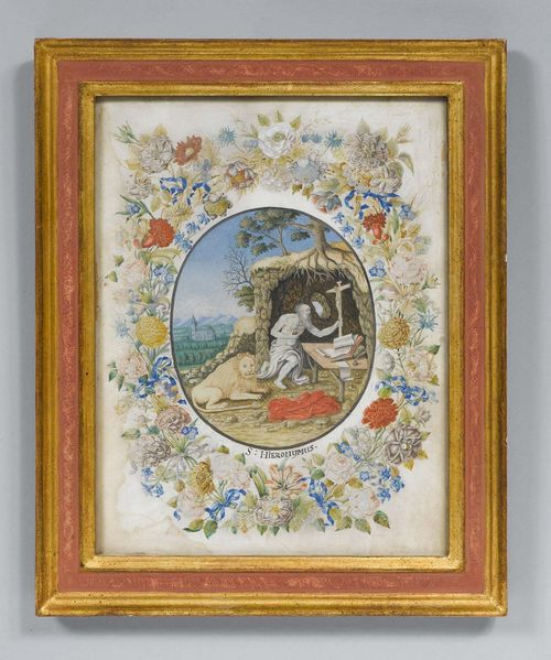 SAINT HIERONYMUS AS A HERMIT,Baroque. Gouache/paper. Oval Medallion  Surrounded By