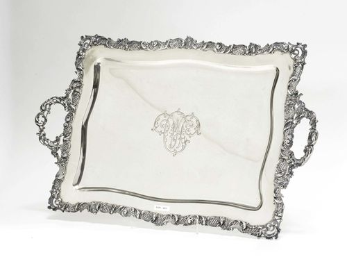 TRAY WITH HANDLES.Silver. Marked. 20th century. Rectangular with open-worked rocaille/volute rim. Mirror with engraved initials. Handles on both sides. 63.3x40 cm, 2650 g.