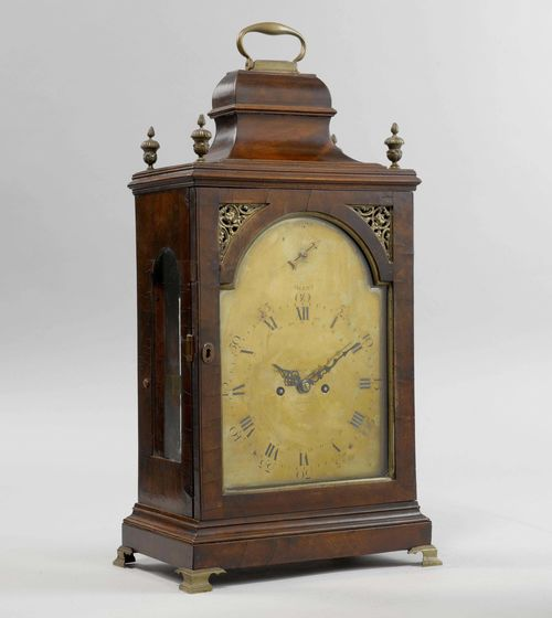 BRACKET CLOCK,George III, England, 18th century. The movement signed GRAVELL&TOLKIEN (mentioned in London 1795x1825). Mahogany. Rectangular case, glazed all around. Engraved brass dial with merchant's signature BROTHERS MELLY & MARTIN LONDON. Movement with finely engraved plate,  verge escapement, and  striking the 1/2-hour on bell. Movement with main spring. H 59 cm.
