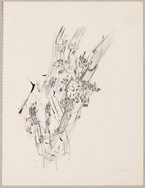 BRYEN, CAMILLE (Nates 1907 - 1977 Paris).Lot of 3 drawings: 1. Composition abstraite. Black pen, 24.3 x 20,4 cm. Inscribed verso in pencil: cahier Le 8. With blind stamp: Atelier Bryen. 2. Composition abstraite. Grey pen, 37.1 x 31.1 cm. Signed in black pen: Bryen. Inscribed verso in pencil: 70 eme cahier. 3. Composition abstraite. Black pen, 36.8 x 26.8 cm. Inscribed verso in pencil: 55e cahier. With blind stamp: Atelier Bryen.