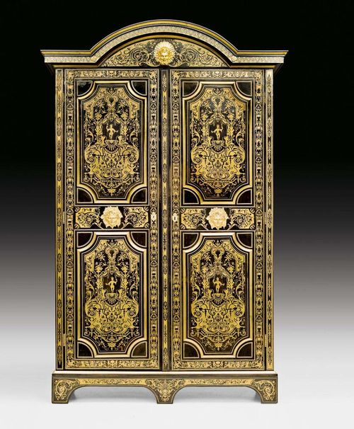 "IMPORTANT CABINET WITH BOULLE MARQUETRY,known as a ""bibliotheque en armoire"", Louis XIV/Regence, by N. SAGEOT (Nicolas Sageot, maitre 1706), Paris circa 1715/1720. Ebony and ebonized fruitwoods, exceptionally finely inlaid with engraved brass fillets in ""contre partie"". Exceptionally fine, matte and polished gilt bronze mounts and applications. Doors with original interior surfaces and locks. 180x58.5x290 cm. Provenance: - From a Swiss collection. - Sotheby's Zurich 10.12.1998 (Lot No. 411). - Swiss private collection. A highly important and rare cabinet in excellent condition."